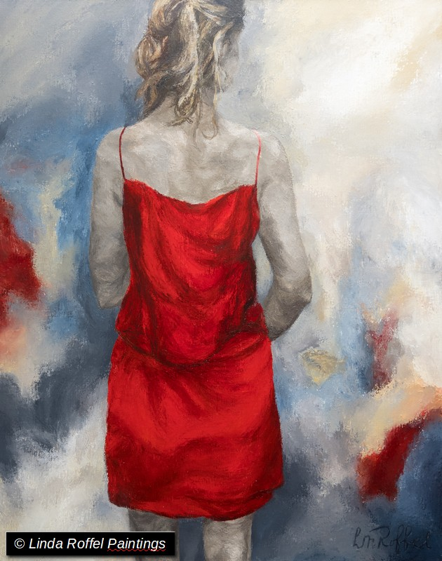 La robe rouge, 100x80, Acrylic on canvas